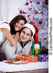 xmas portrait of a couple