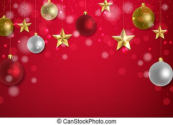 Xmas Postcard With Golden Stars And Red Background