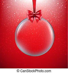 Xmas Red Background With Christmas Ball