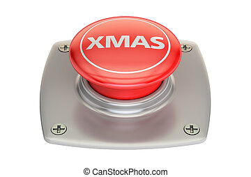 Xmas Red Button, 3D rendering