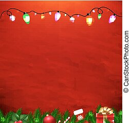 Xmas Red Card With Gradient Mesh, Vector Illustration