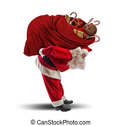 Xmas red sack - Santaclaus carrying a heavy gift red sack