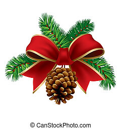 Xmas ribbon - Christmas pine twigs with red ribbon and pine...