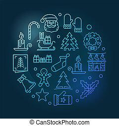 Xmas round vector blue line illustration on dark background