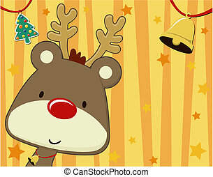 xmas rudolph cartoon background - vector image of baby...