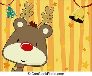 xmas rudolph cartoon background - vector image of baby ...