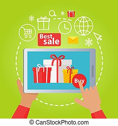Xmas Sale. Hand Holding Tablet and Buying Gifts
