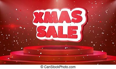 Xmas Sale Text Animation Stage Podium Confetti Loop...