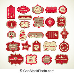Xmas set - labels, tags and decorative elements - Christmas ...