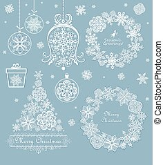 Xmas set with beautiful paper cut out tree, wreath, giftbox and hanging baubles