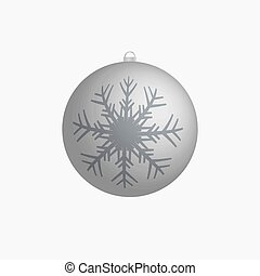Xmas silver vector bulb with snowflake