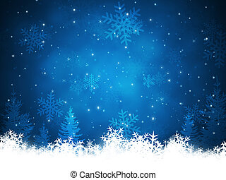 blue christmas background with snowflakes blurs and glitter lights