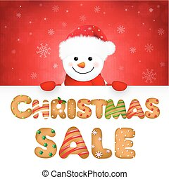 Xmas Snowman With Sale Text