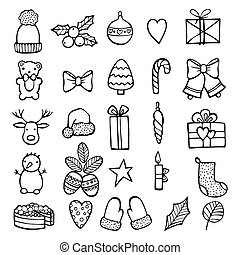 Xmas stickers set. Outline style. Hand draw elements icons. Vector illustration. White background.