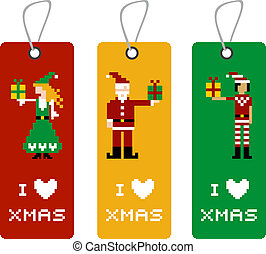 Xmas tag with pixel characters