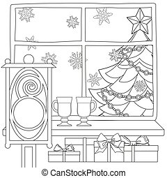 Xmas theme poster with christmas tree, star, garland light, snowflakes, presents, mulled wine, street lantern.