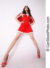 xmas, traje, elegante, mulher, vermelho, excitado