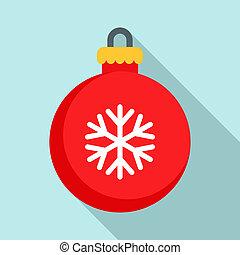 Xmas tree ball icon, flat style