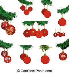 xmas tree branches with balls