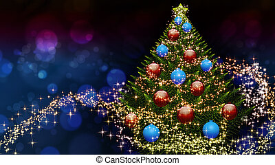 Christmas tree with decoration and snow