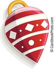 Xmas tree cone toy icon, cartoon style