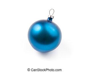 xmas tree decoration blue ball isolated