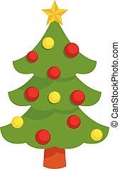 Xmas tree icon, flat style
