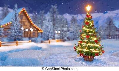 Xmas tree in alpine village at snowfall winter night -...