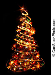 xmas tree (lights) on the black background