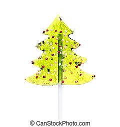 Xmas Tree Lollipop Isolated on White Background