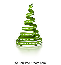 Xmas tree made with green ribbon coil where it's written the text Merry Christmas. 3D render over a white background with reflection
