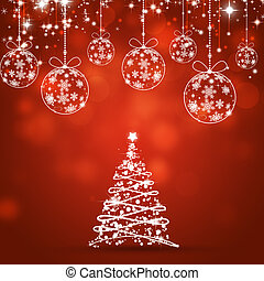Xmas Tree Red Holiday Background