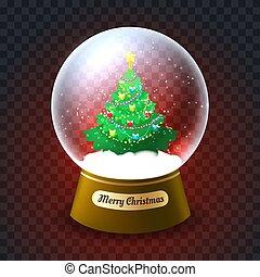 Xmas tree snowglobe. Glass snow globe vector illustration...