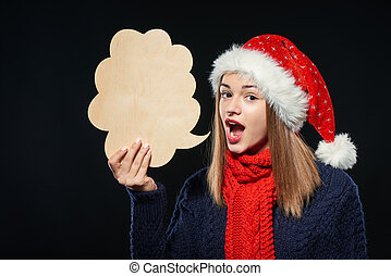 Xmas woman with thought bubble
