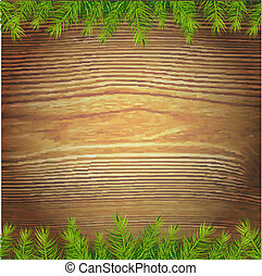 Xmas Wood Background, Vector Illustration