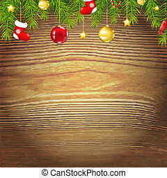 Xmas Wood Background With Xmas Toys, With Gradient Mesh,...