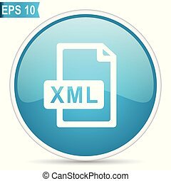 Xml file blue glossy round vector icon in eps 10. Editable modern design internet button on white background.