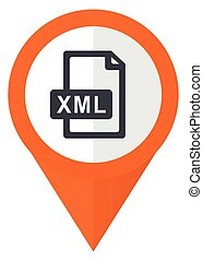 Xml file orange pointer vector icon in eps 10 isolated on...