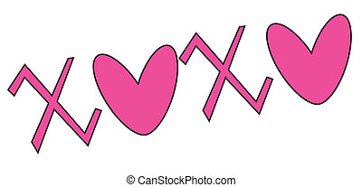 xoxo valentine in pink with hearts
