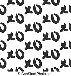 XOXO hugs and kisses bold seamless pattern. Hand drawn...
