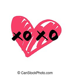 Xoxo vector sign with pink heart isolated on white background