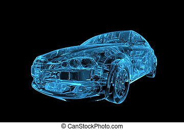 xray, auto, blauwe , transparant, 3d