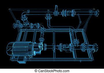 xray, blaues, rohrleitung, (3d, transparent)