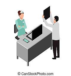 xray, enfermeira, consulta, sala, doutor