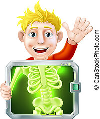 Xray Man Waving - Illustration of a cartoon man or bay...