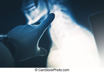 Xray Scan Examination. Doctor Hand in Safety Gloves Exposing...