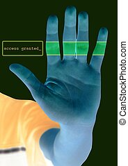 xray, scanner, visie, hand