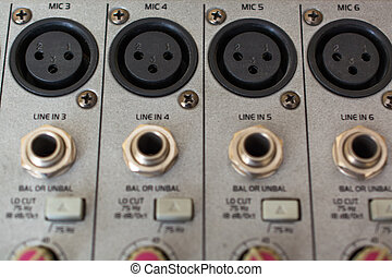 xrl, audio, lappen, panel.