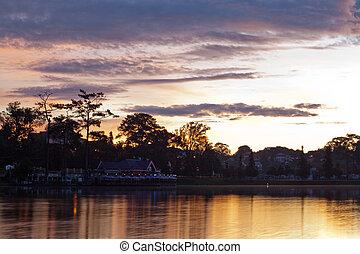 landscape of Xuan Huong lake in early morning in Da Lat City, Vietnam