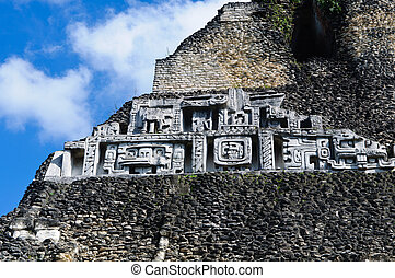 Xunantunich Belize Mayan Temple Close Up of Frieze